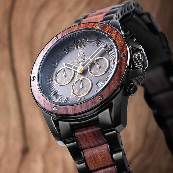 Spinnaker Vessel Chrono Gunmetal Rosewood angled shot picture