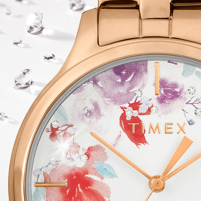 Timex Bloom Swarovski Crystal 36mm Rose Gold White angled shot picture