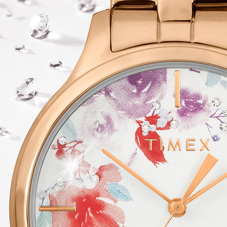Timex Bloom Swarovski Crystal 36mm Rose Gold White