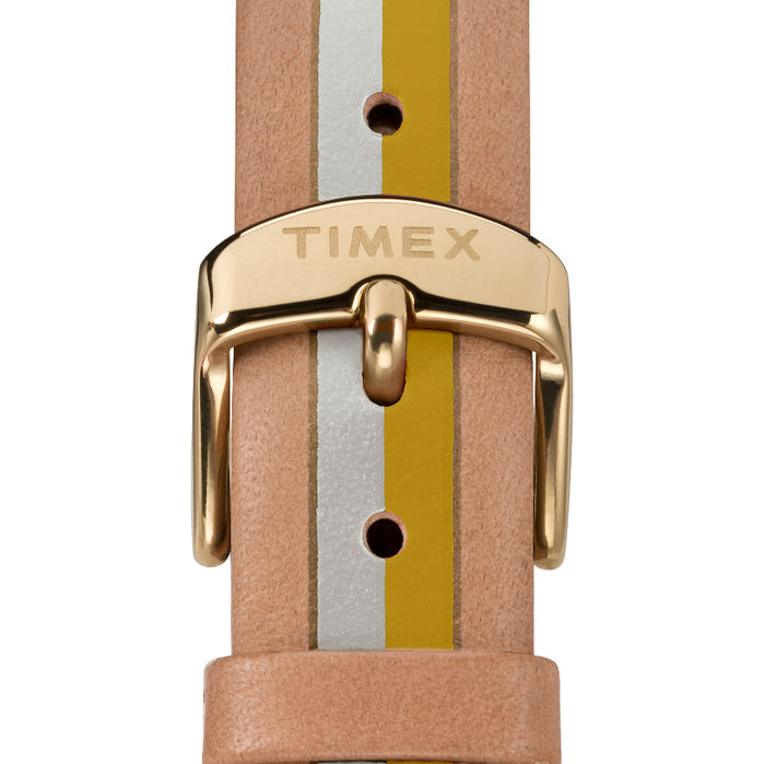 Timex Waterbury 34mm Yellow Tan Stripe angled shot picture