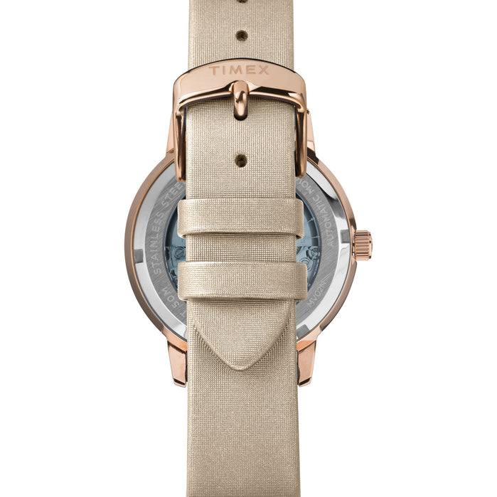 Timex Celestial Opulence Automatic 38mm Rose Gold Silver angled shot picture