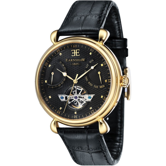 Thomas Earnshaw Grand Calendar Automatic Black Gold angled shot picture