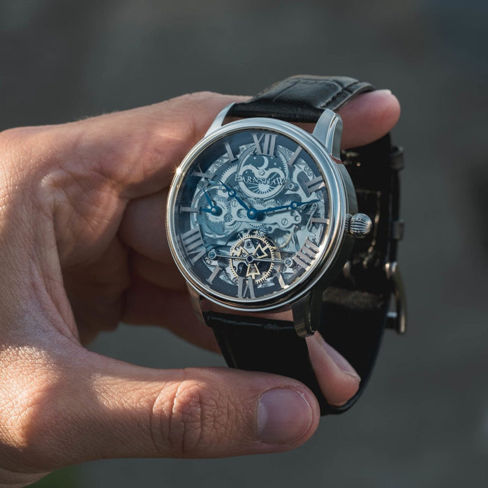 Thomas Earnshaw Longitude Skeleton Automatic Silver Black angled shot picture