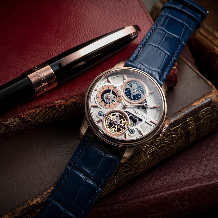 Thomas Earnshaw Longitude Hemisphere Automatic Rose Gold Blue angled shot picture