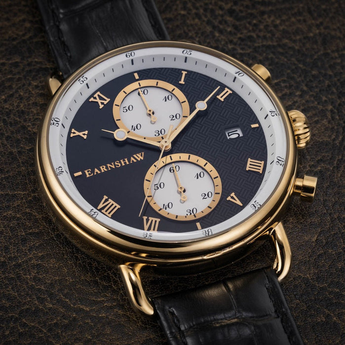 Thomas Earnshaw Investigator Chrono Gold Black angled shot picture