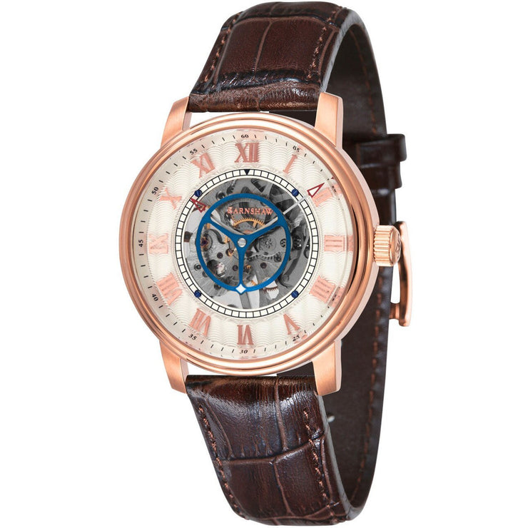 Thomas Earnshaw Westminster Skeleton Hand Wind Rose Gold Brown