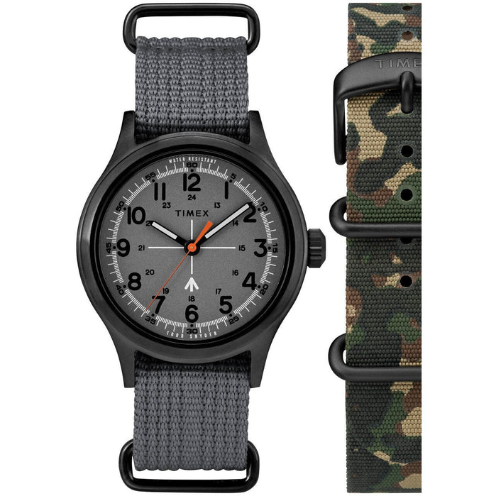 Timex Todd Snyder Military Gunmetal Grey Gift Set angled shot picture