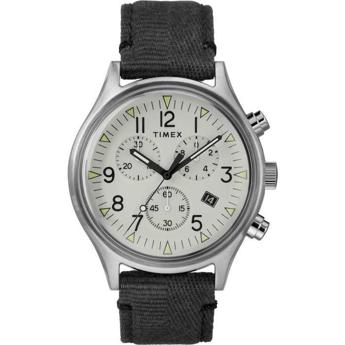 Timex MK1 Steel Chrono Silver Black angled shot picture
