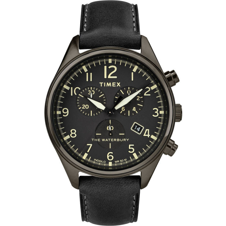 Timex Waterbury Traditional Chrono All Black Leather