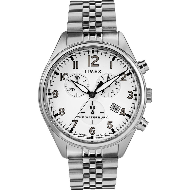 Timex Waterbury Traditional Chrono SS Silver White