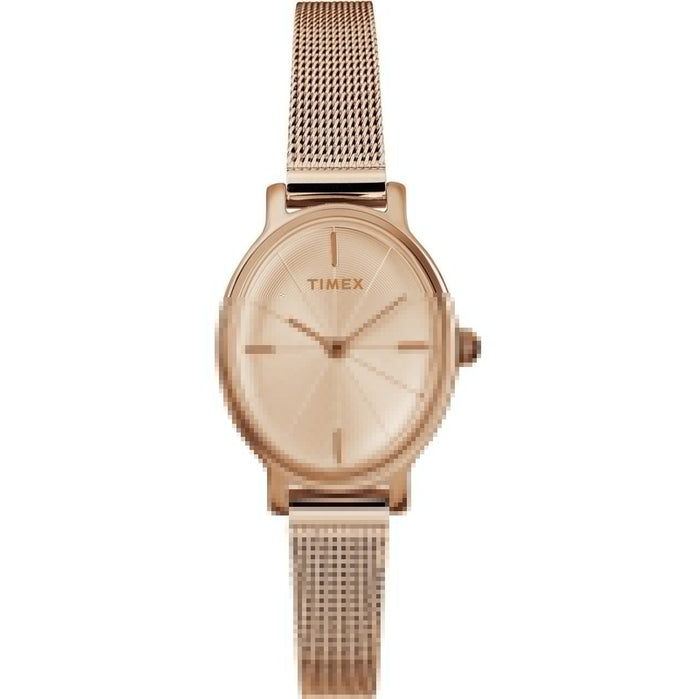 Timex Milano Oval 24MM Rose Gold Mesh angled shot picture