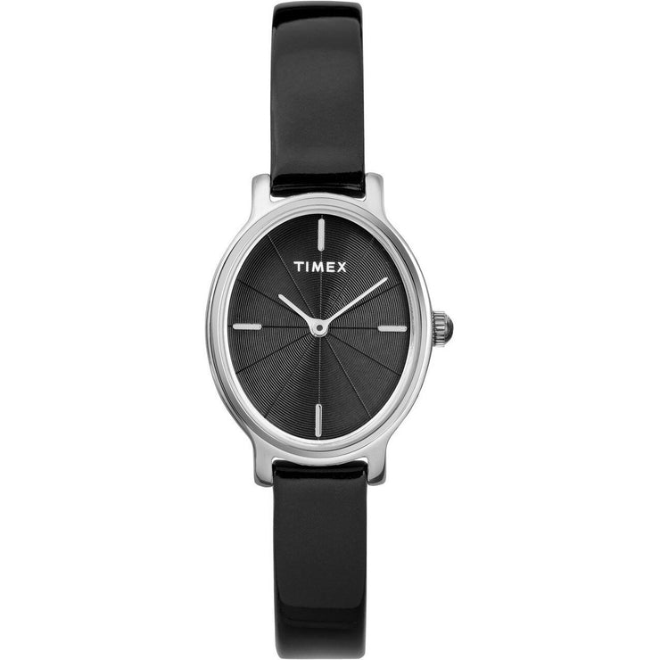 Timex Milano Oval 24MM Patent Leather Silver Black