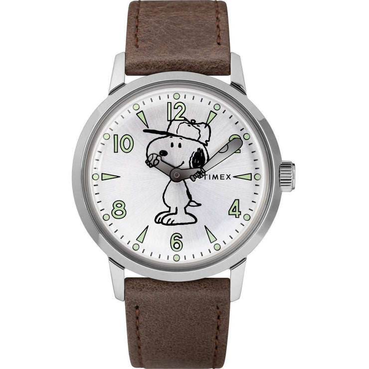 Timex Welton Snoopy Silver Brown
