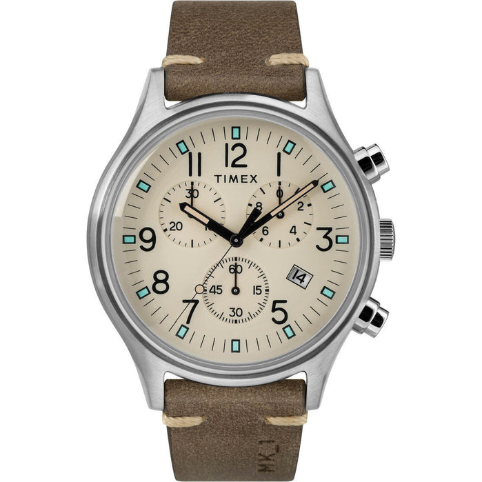 Timex MK1 Steel Chrono Natural Brown angled shot picture