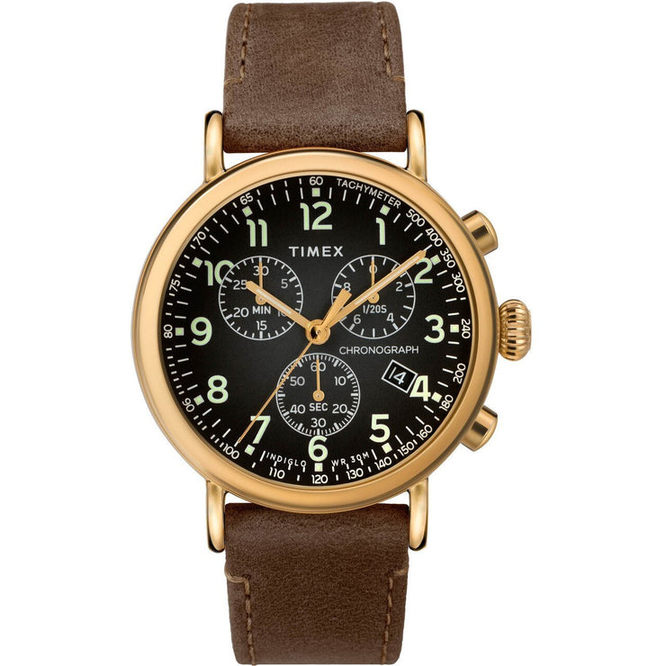 Timex Standard Chrono Grey Brown Gold