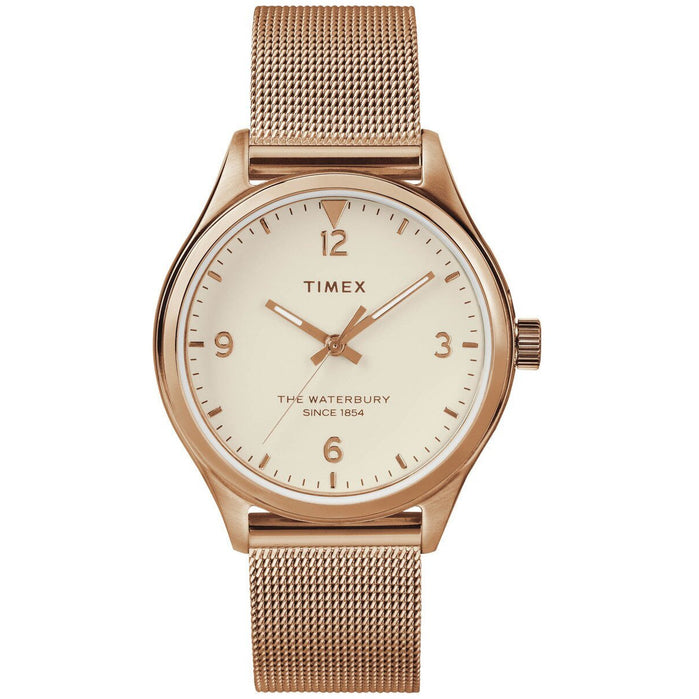 Timex Waterbury 34mm Rose Gold Mesh angled shot picture