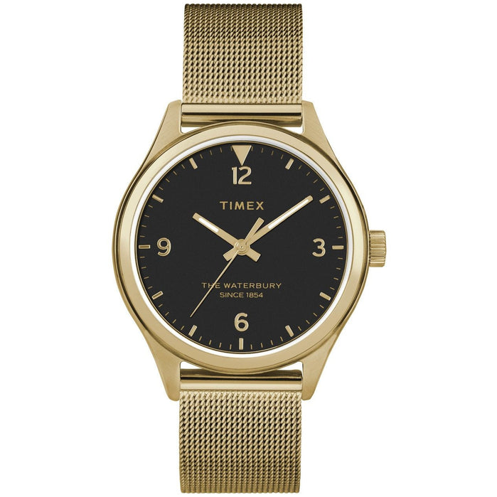 Timex Waterbury 34mm Black Gold Mesh angled shot picture