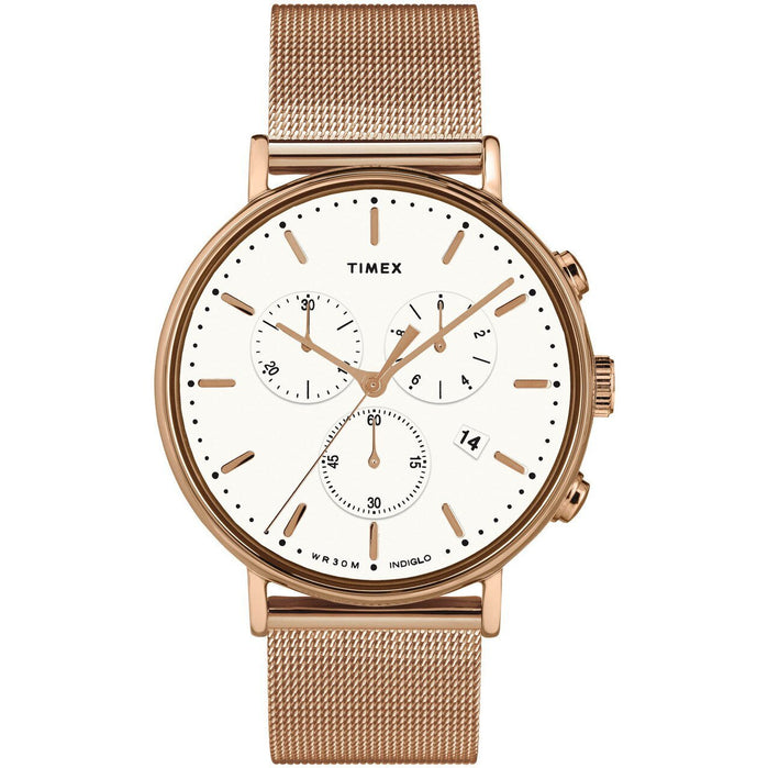 Timex Fairfield Chrono Rose Gold Mesh angled shot picture