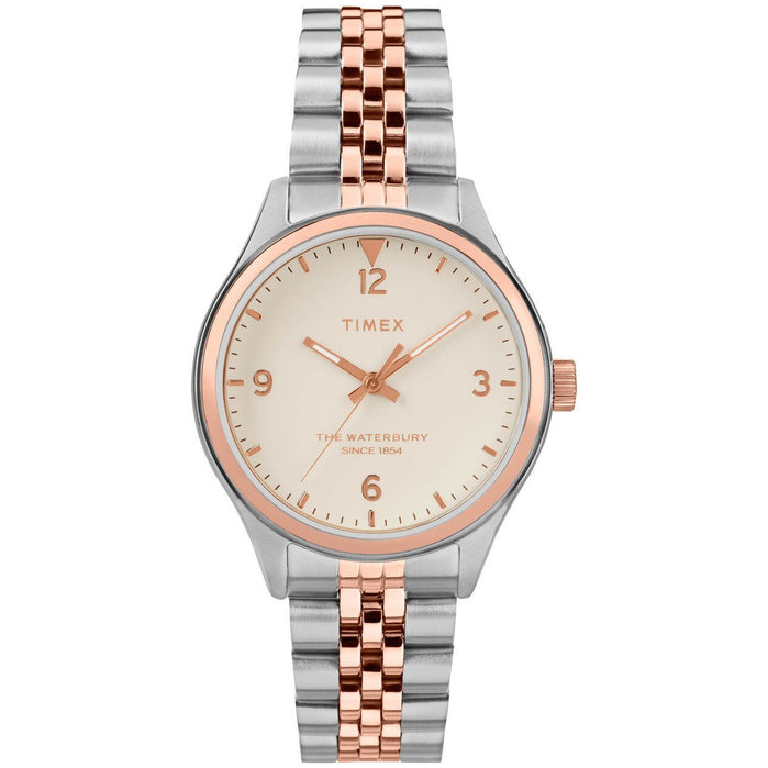 Timex Waterbury 34mm Rose Gold Silver SS angled shot picture