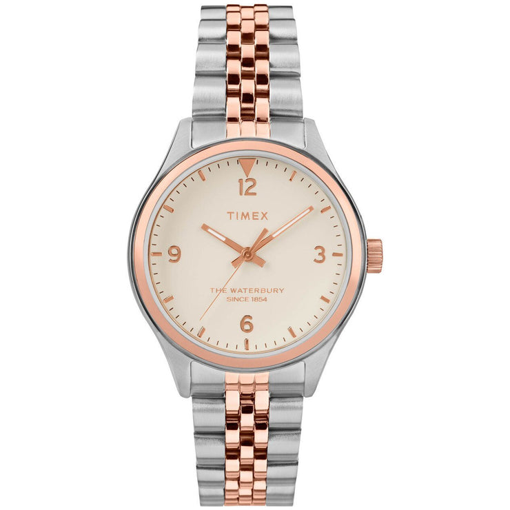 Timex Waterbury 34mm Rose Gold Silver SS