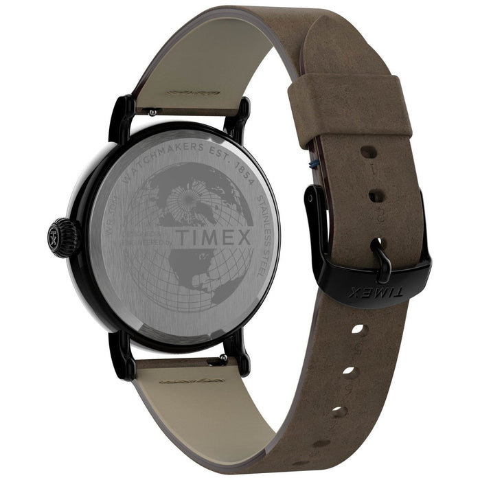 Timex Standard 40mm Gunmetal Blue Brown angled shot picture