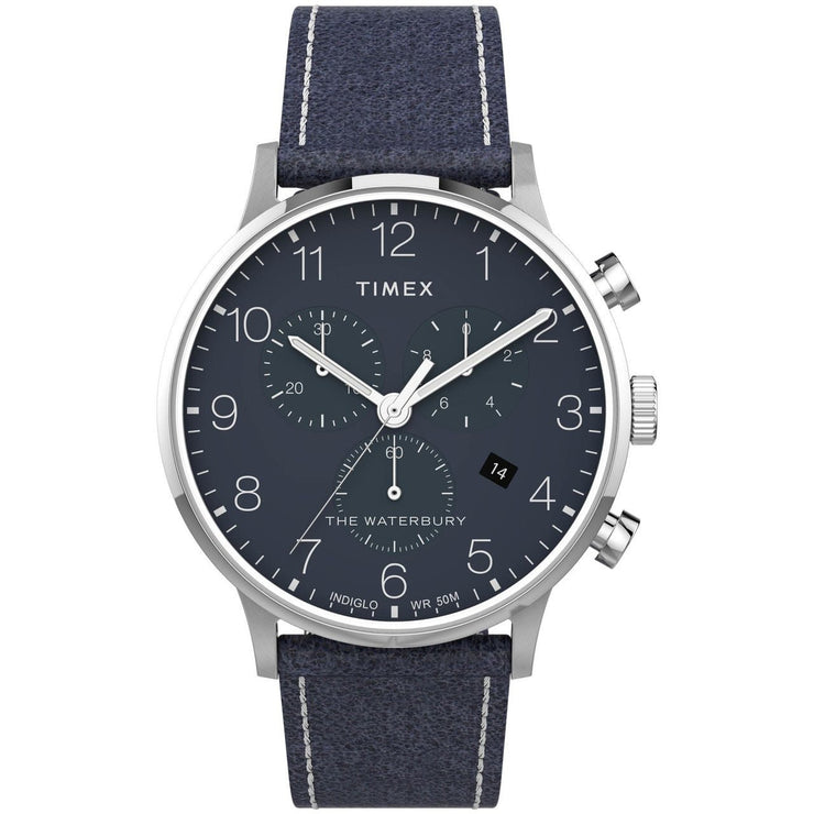 Timex Waterbury Classic Chronograph 40mm Silver Blue