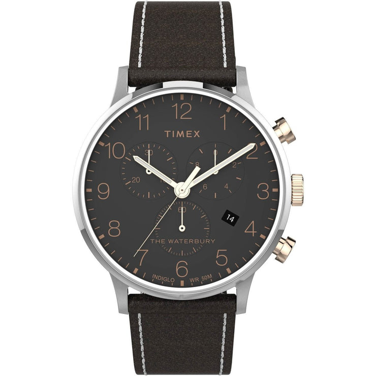 Timex Waterbury Classic Chronograph 40mm Silver Brown