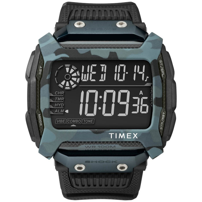 Timex Command Shock Digital Black Blue Camo angled shot picture