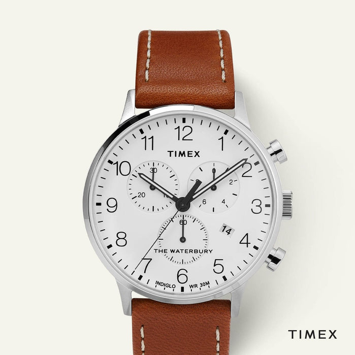 Timex Waterbury Classic Chronograph 40mm Silver Tan angled shot picture