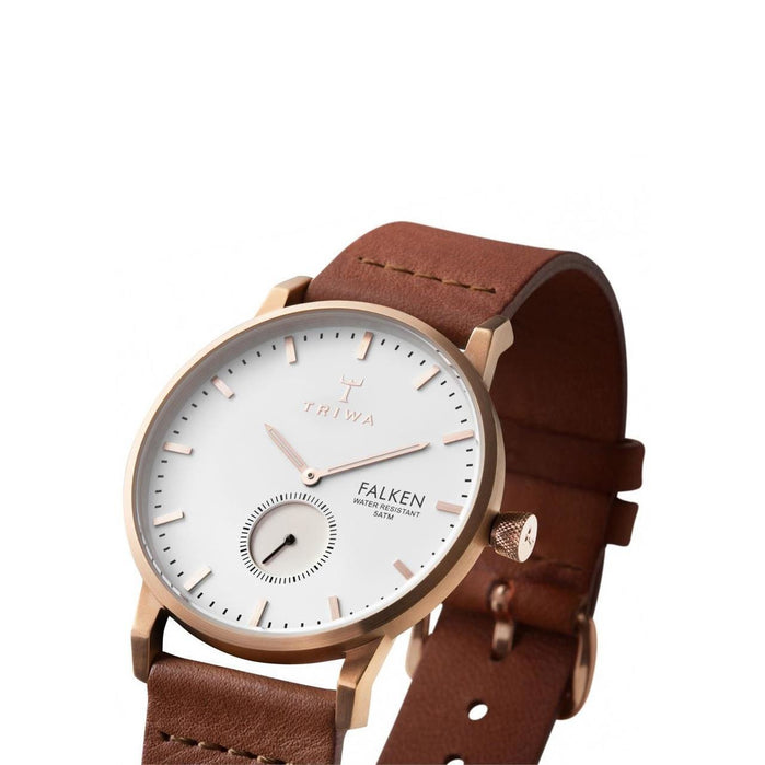 Triwa Rose Falken Rose Gold/Brown Classic angled shot picture