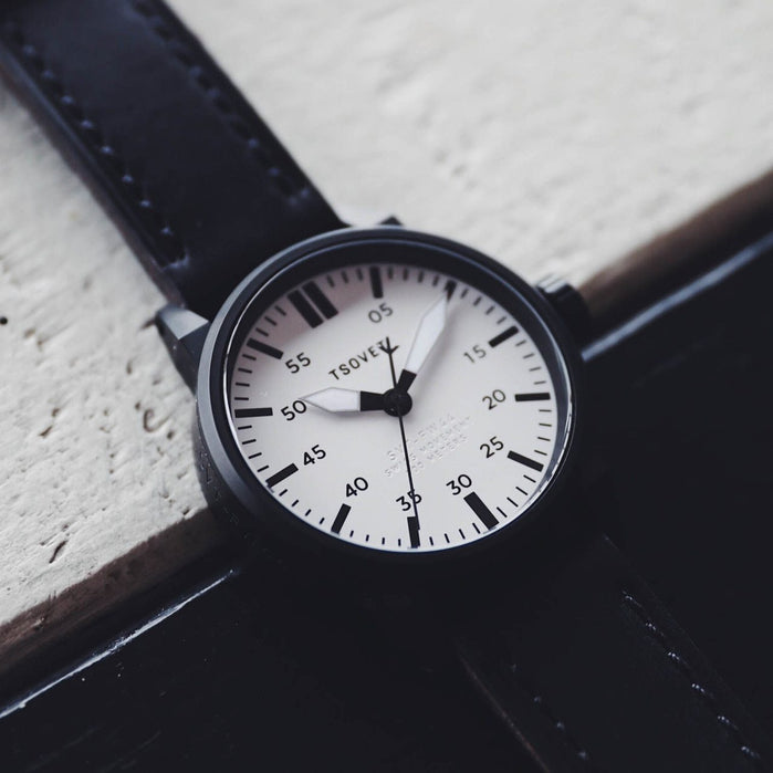 Tsovet SVT-FW44 Swiss Field Watch Black White angled shot picture