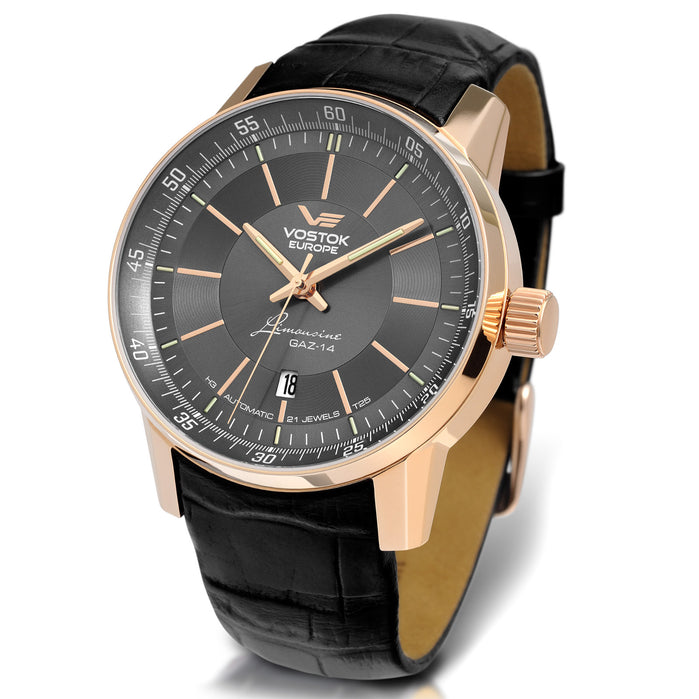 Vostok-Europe Gaz-Limousine Tritium Automatic Rose Gold Gray angled shot picture