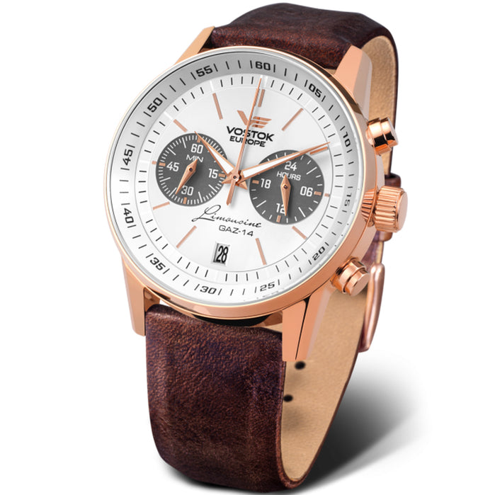 Vostok-Europe Gaz Limousine Chrono Rose Gold White angled shot picture