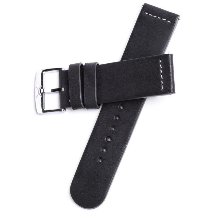 Xeric 22mm Smooth Black Leather Strap with Green Backing