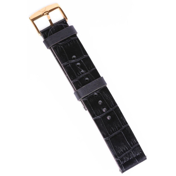 Xeric 22mm Black Croc Leather Strap with Rose Gold Buckle