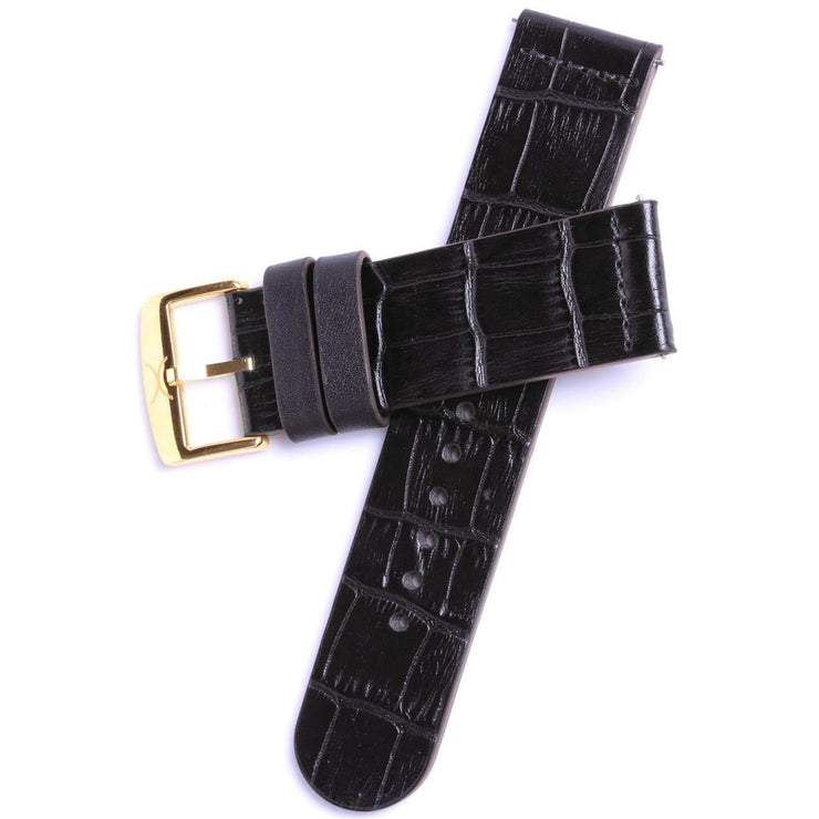 Xeric 22mm Black Croc Leather Strap with Gold Buckle