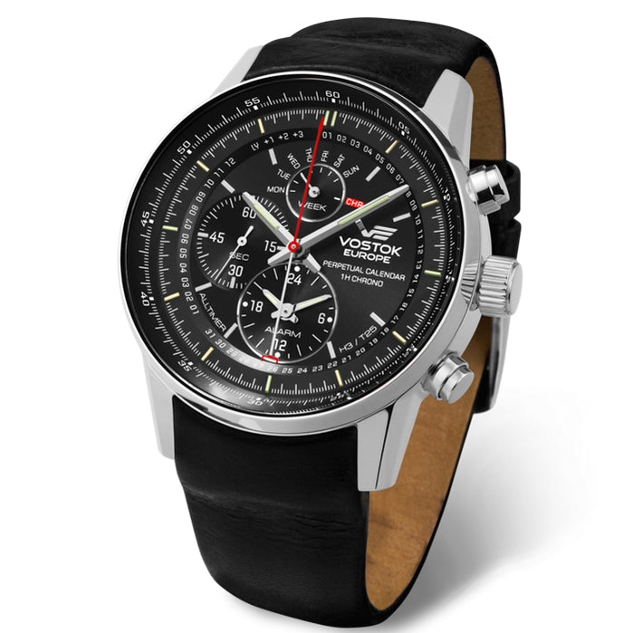 Vostok-Europe Limousine All-Timer Chrono Black angled shot picture