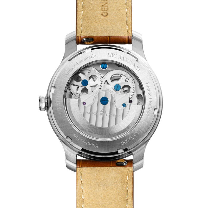 Archetype Archer Automatic Silver Tan White angled shot picture