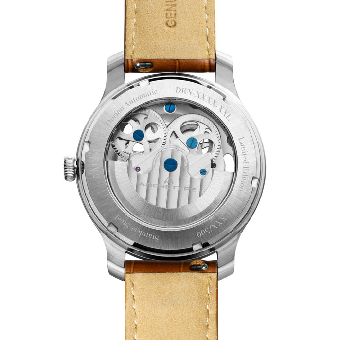 Archetype Dorian Automatic Silver Tan White angled shot picture