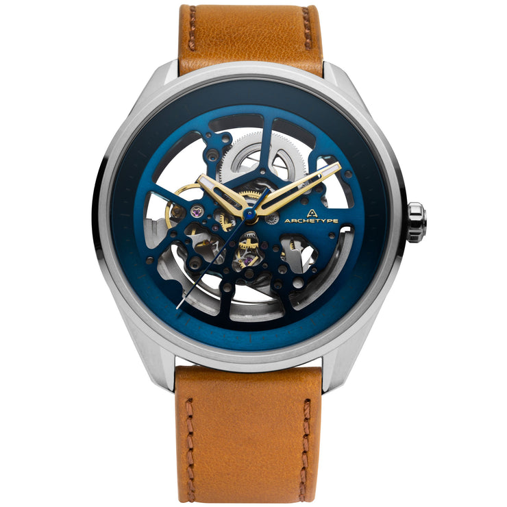 Archetype Nemesis Automatic Silver Tan Blue
