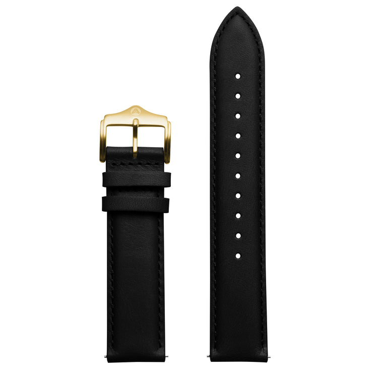 Archetype 20mm Full-grain Leather Black Strap Gold Buckle