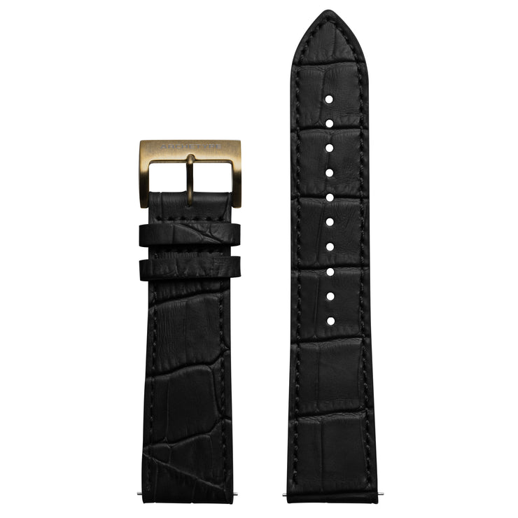 Archetype 22mm Embossed Croc Black Strap Antique Gold Buckle