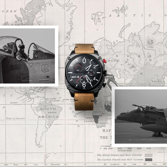 AVI-8 Hawker Hunter AV-4052-02 Chronograph Brown angled shot picture