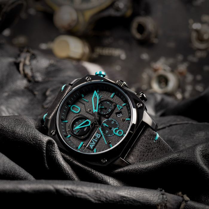 AVI-8 Hawker Hunter AV-4052-05 Chronograph Black Blue angled shot picture