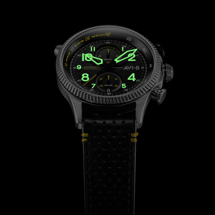 AVI-8 Hawker Hunter Duke Chrono Halton Black Yellow angled shot picture