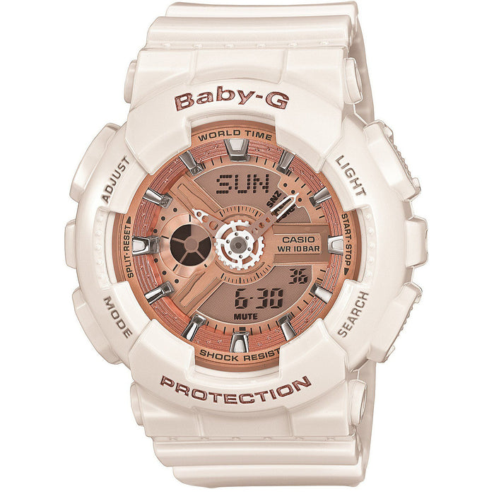 G-Shock Baby-G BA110-7A1 White Rose Gold angled shot picture