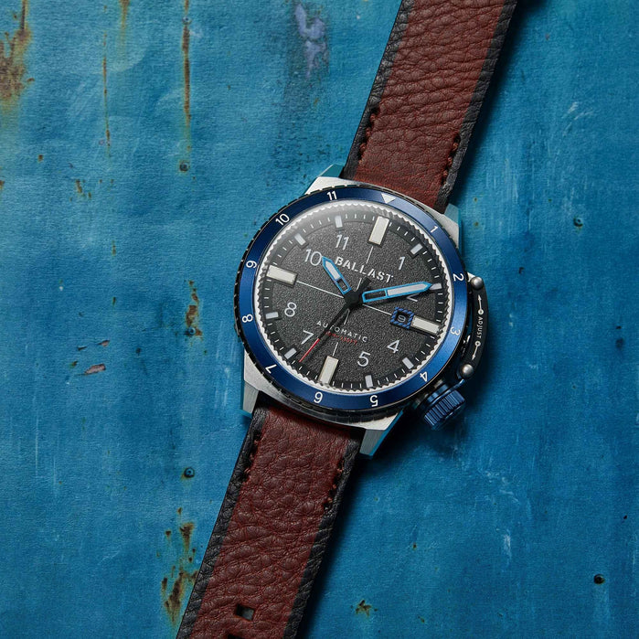 Ballast Trafalgar Dual Time Automatic Blue Brown angled shot picture