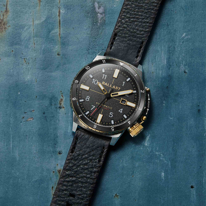 Ballast Trafalgar Dual Time Automatic Black Silver angled shot picture