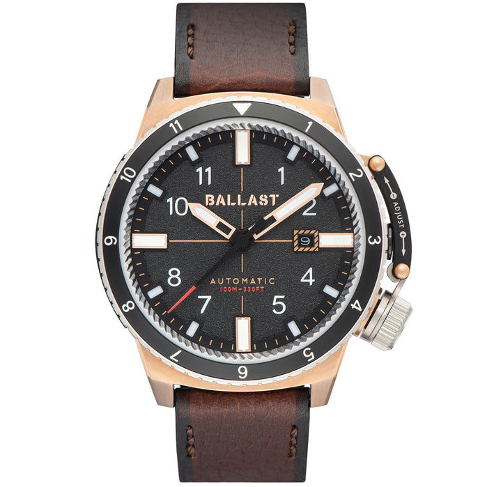 Ballast Trafalgar Dual Time Automatic Brown Gold angled shot picture