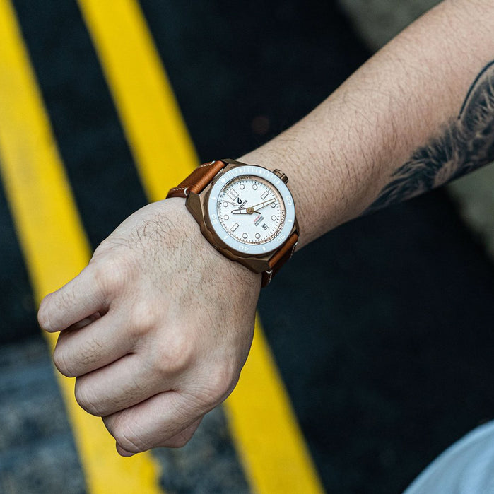 Boldr Odyssey Automatic Bronze White Knight Tan angled shot picture